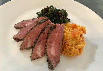 Marinated Flank Steak with Sweet Potato and Carrot Mash, Kale & Mushroom Ragout