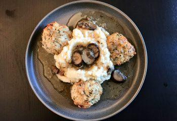 Red Bird Chicken and Pork Meatballs with Roasted Garlic Cauliflower Mash and Mushroom Jus
